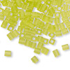 Seed bead, Miyuki, glass, transparent frosted lime, (SB143F), 3.5-3.7mm square. Sold per 250-gram pkg.