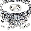 Seed bead, Preciosa Twin™, Czech glass, grey-lined clear terra, 5x2.5mm oval with 2 holes. Sold per 10-gram pkg.