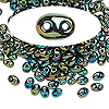 Seed bead, Preciosa Twin™, glass, iris olive, 5x2.5mm oval with 2 holes. Sold per 50-gram pkg.