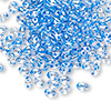 Seed bead, Preciosa Twin™, glass, sea blue-lined clear terra, 5x2.5mm oval with 2 holes. Sold per 50-gram pkg.