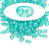 Seed bead, Preciosa® Twin™, glass, transparent green terra pearl, 5x2.5mm oval with 2 holes. Sold per 50-gram pkg.