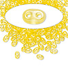 Seed bead, Preciosa® Twin™, glass, transparent yellow terra pearl, 5x2.5mm oval with 2 holes. Sold per 50-gram pkg.