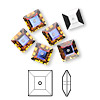 Sew-on bead, Swarovski crystal rhinestone, crystal volcano, foil back, 8x2.5mm faceted square lochrose (3400). Sold per pkg of 6.