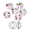 Sew-on component, Swarovski crystal, crystal AB, foil back, 10mm Xilion flat back (3204). Sold per pkg of 72.