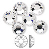 Sew-on component, Swarovski crystal, crystal clear, 12mm flat foil back Xilion (3204). Sold per pkg of 6.