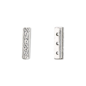 Spacer bar, JBB Findings, sterling silver, 16x3.5mm 3-strand filigree rectangle. Sold individually.