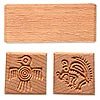 Stamp block, Chinese beech wood (oiled), brown, 2-3/4x1 inches with 1x1-inch tribal bird and squirrel designs. Sold individually.