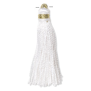 Tassel, silk (imitation) and gold-finished copper, white, 1-3/4 to 2 inches. Sold per pkg of 12.