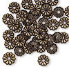 Washer, brass, 7mm single-sided flat round flower with pressed petal design and 1.4mm hole. Sold per pkg of 50.