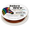 Wire, Zebra Wire™, color-coated copper, brown, round, 24 gauge. Sold per 20-yard spool.