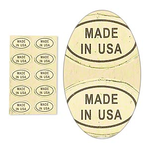 adhesive label, paper, gold and black, 1/2 x 5/16 inch oval with made in usa. sold per pkg of 1,000.