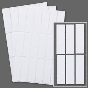 adhesive label, paper, white, 1-3/4 x 1/2 inch rectangle. sold per pkg of 846.