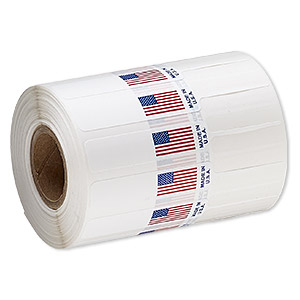 adhesive label, polyester, white / red / blue, 3-1/4 x 1/2 inches unfolded with usa flag and made in usa. sold per pkg of 50.