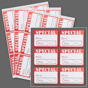 adhesive label, white and red, 1-5/8 x 1-1/8 inch rectangle with special. sold per pkg of 500.