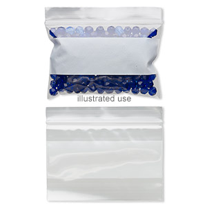 bag, tite-lip™, plastic, clear and white, 3x2-inch side zip with block. sold per pkg of 1,000.