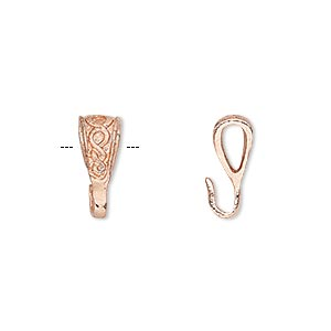 bail, copper, 14x6mm with celtic knot design. sold per pkg of 4.