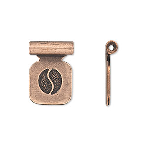 bail, glue-on, antique copper-plated pewter (tin-based alloy), 19x14mm with 13x13mm square flat pad and tube bail. sold per pkg of 2.
