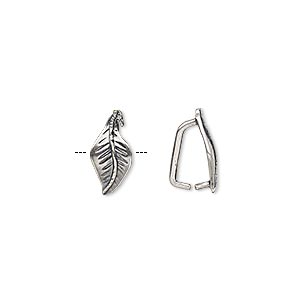 bail, ice-pick, antique silver-plated brass, 12.5x6.5mm leaf, 8mm grip length. sold per pkg of 2.