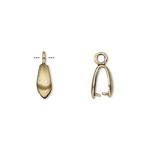 bail, ice-pick, antiqued brass, 10x4mm teardrop, 7mm grip length. sold individually.
