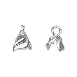 bail, ice-pick, antiqued sterling silver, 11x8mm twisted leaf, 4mm grip length. sold individually.