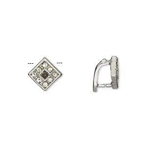 bail, ice-pick, egyptian glass rhinestone and imitation rhodium-plated brass, clear, 10x8mm diamond, 5.5mm grip length. sold per pkg of 6.