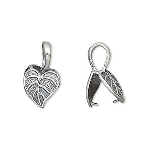 bail, jbb findings, antiqued sterling silver, 12x11mm heart shaped leaf, 8mm grip length. sold individually.