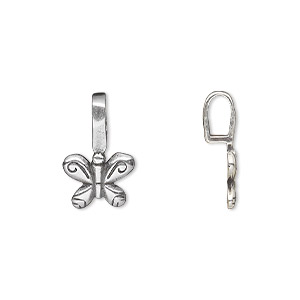 bail, jbb findings, glue-on, antique silver-plated brass, 17x11mm with 11x9mm butterfly flat base. sold per pkg of 2.