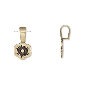 bail, jbb findings, glue-on, antiqued brass, 17x9mm with 9.5x9mm flower flat base. sold per pkg of 2.