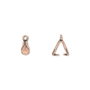 bail, jbb findings, ice-pick, antique copper-plated pewter (tin-based alloy), 8x4mm double-sided teardrop with fancy design and 6mm grip length. sold per pkg of 4.