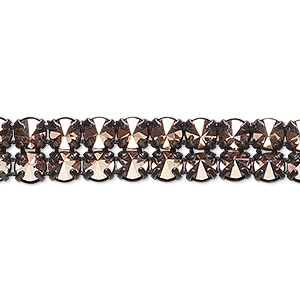 banding, preciosa czech crystal / cotton / black-plated brass, opaque crystal capri gold and black, 2 rows, 10mm wide with 5mm spike. sold per pkg of 10 meters, approximately 4,600 chatons.