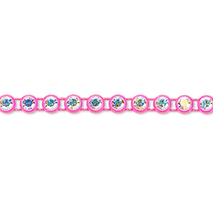 banding, preciosa czech crystal / plastic / cotton, crystal ab and transparent fluorescent pink, 4mm wide with 4mm round. sold per pkg of 10 meters, approximately 2,000 chatons.