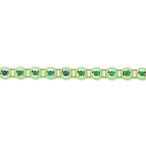 banding, preciosa czech crystal / plastic / cotton, crystal ab and transparent acid green, 4mm wide with 4mm round. sold per pkg of 10 meters, approximately 2,000 chatons.
