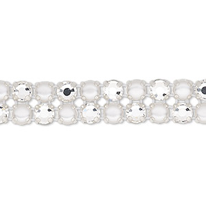 banding, preciosa rose viva 12 czech crystal / glass pearl / cotton cord / silver-plated brass, opaque white and transparent crystal clear, 2 rows, 10mm wide with 4.5mm round. sold per pkg of 7-3/4 inches, approximately 40 chatons and 40 cabochons.