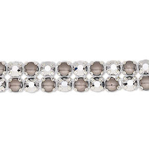 banding, preciosa rose viva 12 czech crystal / glass pearl / cotton cord / silver-plated brass, opaque dark grey / white / transparent crystal labrador, 2 rows, 10mm wide with 4.5mm round. sold per pkg of 10 meters, approximately 2,300 chatons and 2,300 cabochons.
