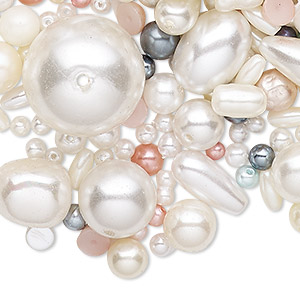 bead / drop / cabochon / embellishment mix, acrylic pearl, opaque mixed colors, 2mm-30x16mm mixed shape. sold per 1-pound pkg, approximately 1,700 pieces.