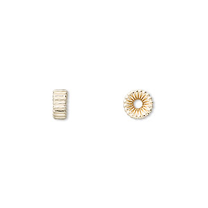 bead, 14kt gold-filled, 6.5x3mm corrugated rondelle. sold per pkg of 20.