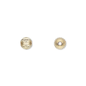 bead, 14kt gold-filled, 6mm corrugated round. sold per pkg of 2.