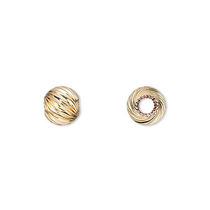 bead, 14kt gold-filled, 8mm twisted corrugated round with 2.5mm round. sold per pkg of 10.