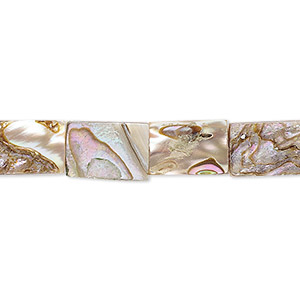 bead, abalone shell (assembled), 12x8mm flat rectangle, mohs hardness 3-1/2. sold per 16-inch strand.