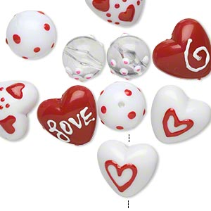 bead, acrylic and epoxy, multicolored, 14-16mm round and 20x19mm double-sided puffed heart with valentine-themed designs. sold per pkg of 10.