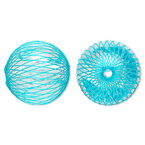 bead, acrylic and nylon, clear with light blue netting, 25mm round. sold per pkg of 10.