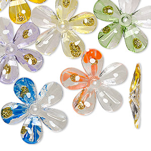 bead, acrylic, assorted colors with gold-colored glitter, 30x30mm flower with painted design. sold per pkg of 24.
