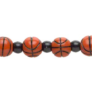 bead, acrylic, black and orange, 7x7.5mm crow and 11mm basketball. sold per 8-inch strand.