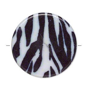 bead, acrylic, black and white, 32mm double-sided flat round with zebra pattern and 1.75mm hole. sold per pkg of 6.