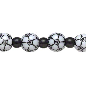 bead, acrylic, black and white, 7x5.5mm crow and 11mm soccer ball. sold per 8-inch strand.