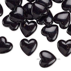 bead, acrylic, black with gold-colored glitter, 12x12mm puffed heart. sold per pkg of 24.