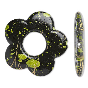 bead, acrylic, black with green speckles and gold-colored striping, 32x32mm flat open flower and 11mm center opening. sold per pkg of 40.