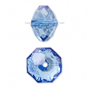 bead, acrylic, blue, 18x13mm faceted rondelle. sold per 100-gram pkg, approximately 40 beads.