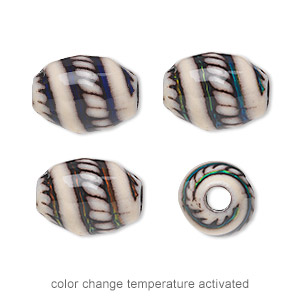 bead, acrylic, cream and multicolored, 16x13mm color-changing barrel with swirls, 3.5mm hole. sold per pkg of 4.