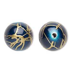 bead, acrylic, dark blue and gold, 18mm round with swirls. sold per pkg of 30.